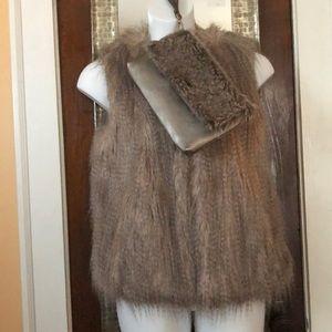 Faux fur vest and clutch SET